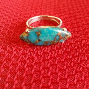 Earth Art hand crafted artisan Jewelry - Arizona Turquoise Ring Sterling Silver NEW